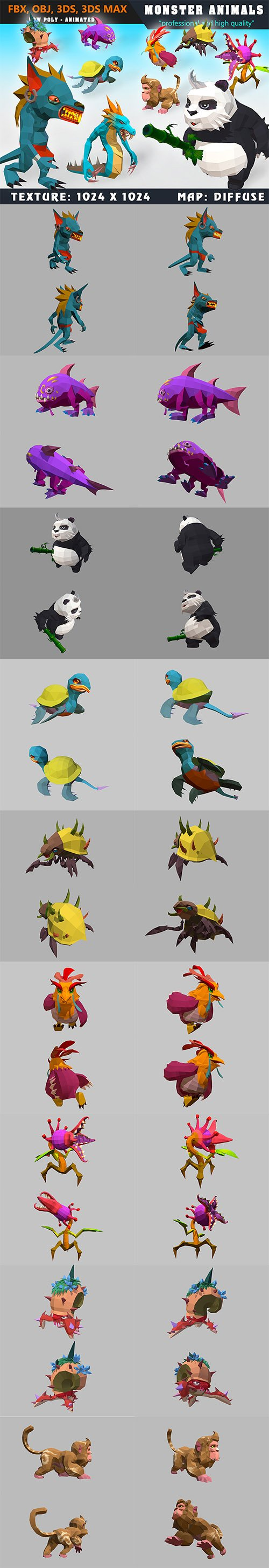 Low Poly Monster Cartoon Collection 05 Animated