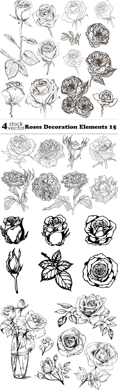 Vectors - Roses Decoration Elements 15