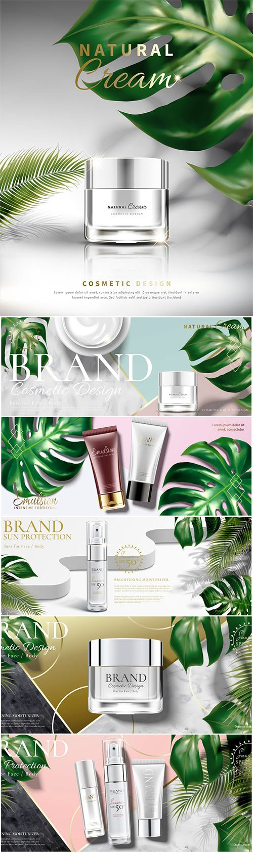 Cosmetic cream jar ads with tropical leaves in 3d illustration