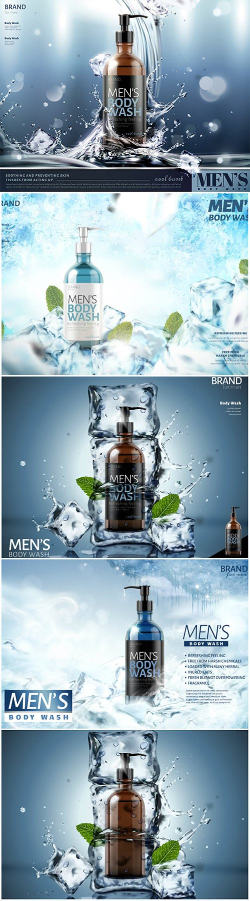 Men's body wash vector poster ads with splashing water and ice cubes in 3d illustration