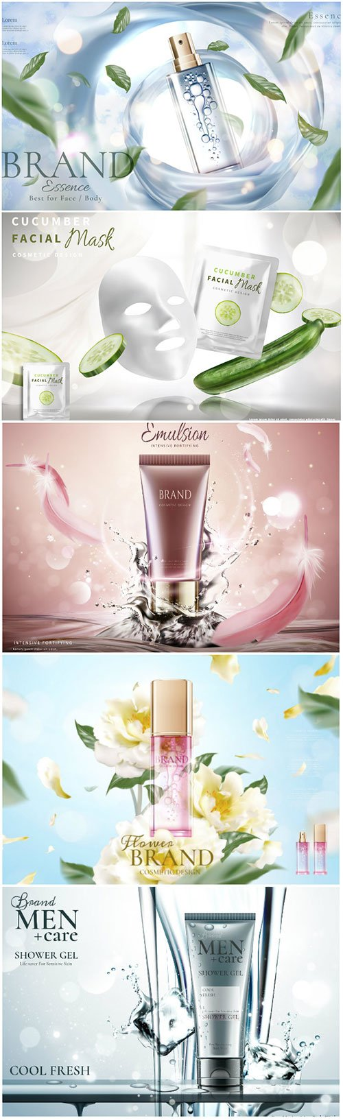 Skincare Banner Ads In 3d Vector Illustration Nitrogfx Download Unique Graphics For Creative Designers