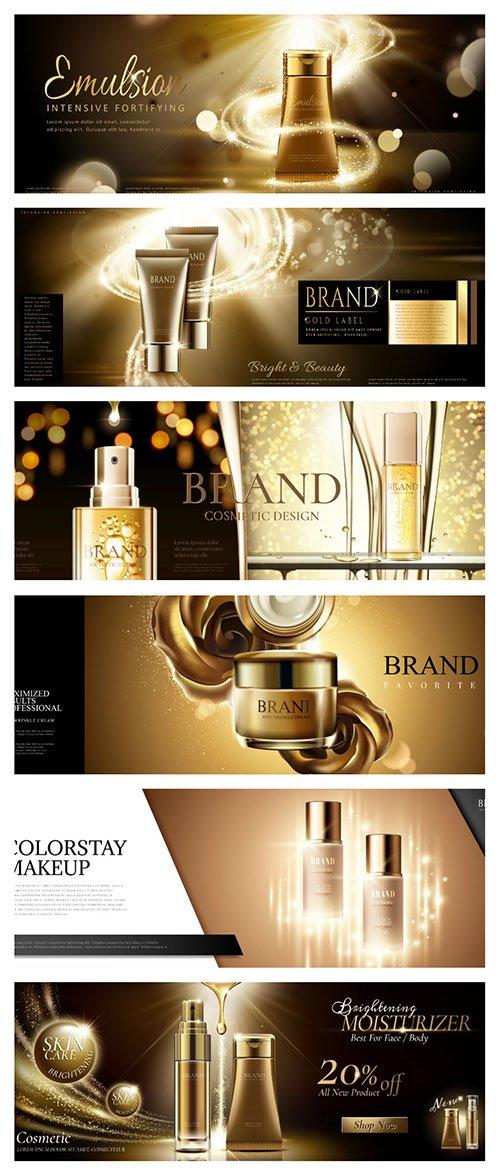 Skincare Banner Ads In Golden Color In 3d Vector Illustration Nitrogfx Download Unique Graphics For Creative Designers