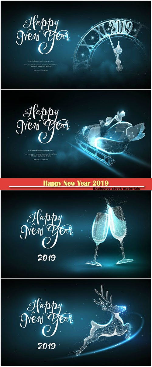 Happy New Year 2019, Christmas vector greeting card