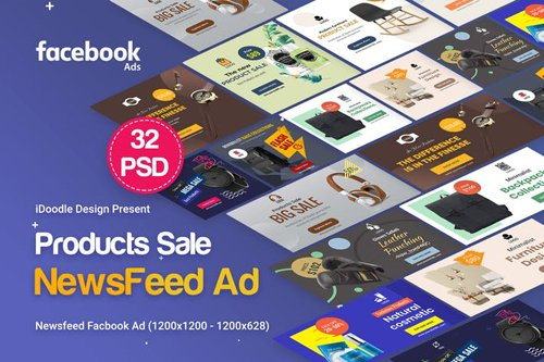 Product NewsFeed FB Ad - 32 PSD [02 Sizes Each]