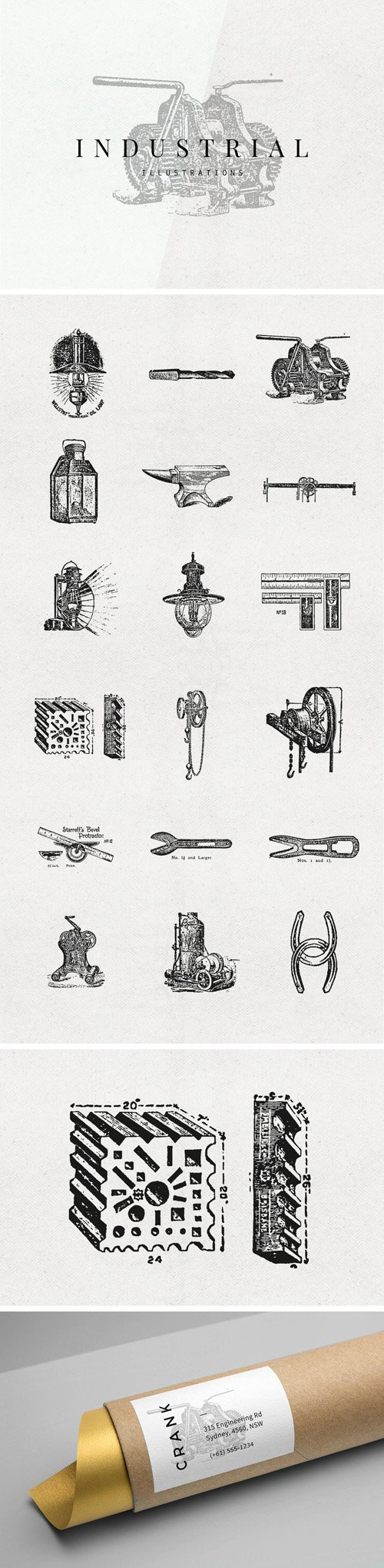 18 Industrial Vector Illustrations Set [Ai/EPS/PNG]