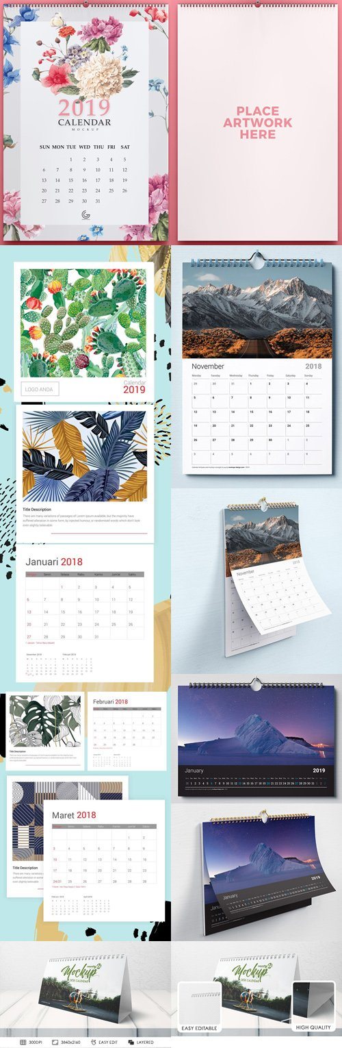 2018/2019 Calendar PSD Mockup Collection [PSD/Ai/EPS]