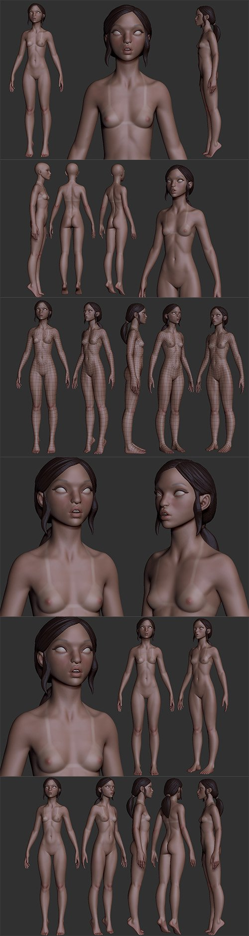 Petite Woman high poly and base