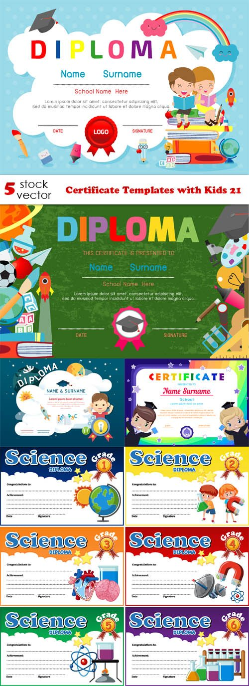 Vectors - Certificate Templates with Kids 21