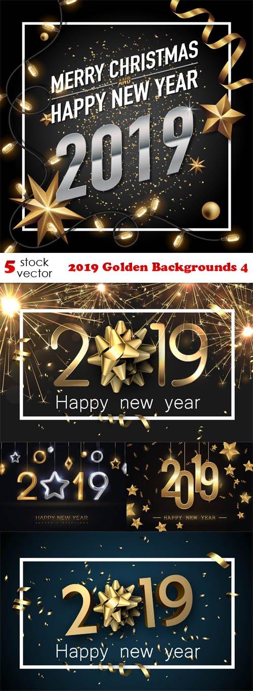 Vectors - 2019 Golden Backgrounds 4