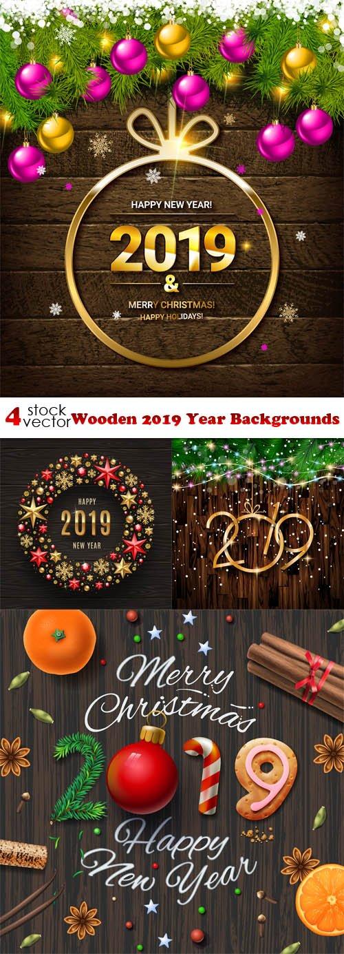 Vectors - Wooden 2019 Year Backgrounds