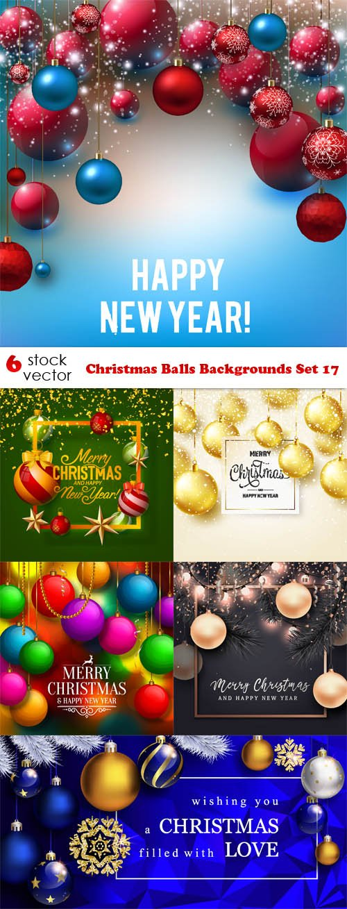 Vectors - Christmas Balls Backgrounds Set 17