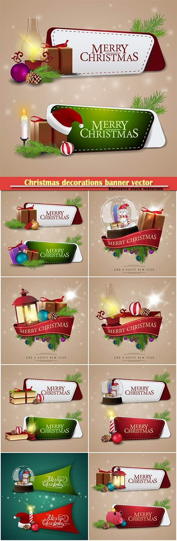 Christmas decorations banner vector illustration