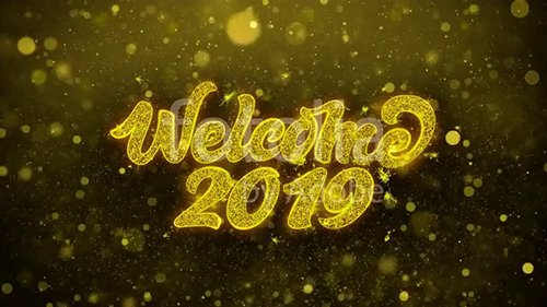 Welcome 2019 Greetings card Abstract Blinking Golden Sparkles Glitter Firework Particle Looped Background