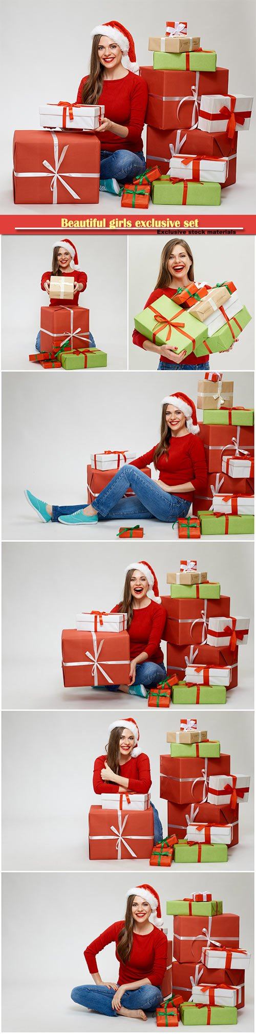 Cheerful girl with with christmas gifts