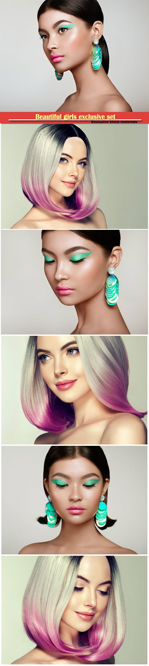 Fashion girls with makeup and dyed hair