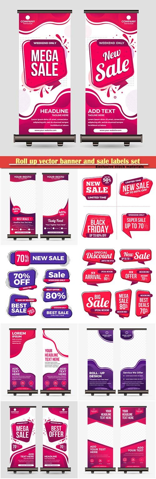 Roll up vector banner and sale labels set collection
