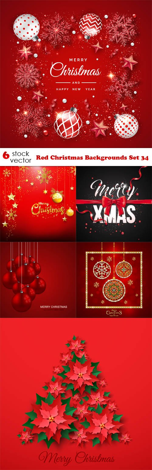 Vectors - Red Christmas Backgrounds Set 34