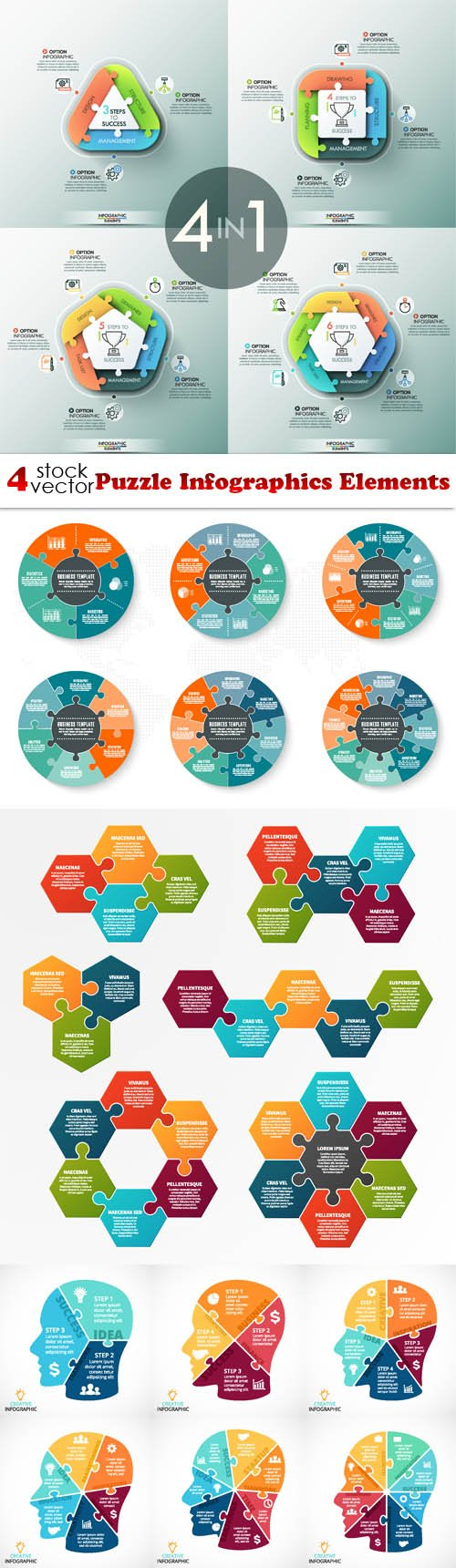Vectors - Puzzle Infographics Elements