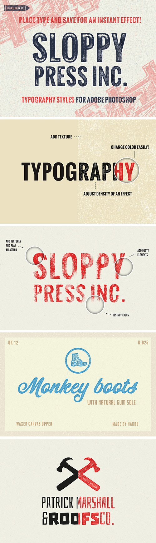 Sloppy Press Typography Styles for Adobe Photoshop [ASL/ABR/ATN/PSD/PNG]