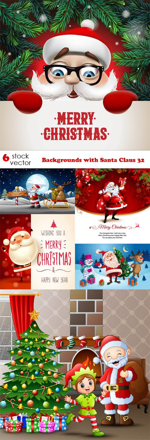 Vectors - Backgrounds with Santa Claus 32