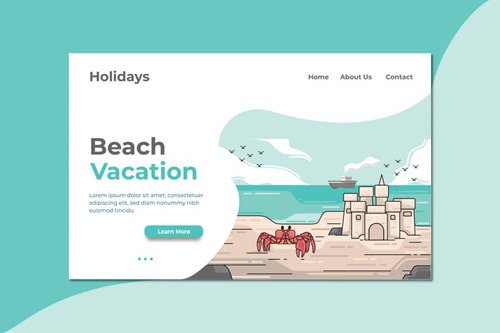 Beach Vacation Landing Page Illustration