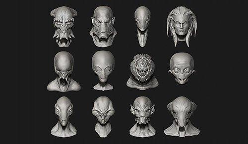 12 Aliens Creatures Heads