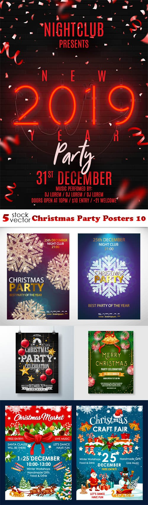 Vectors - Christmas Party Posters 10