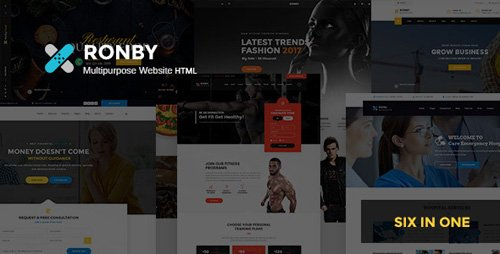 ThemeForest - Ronby v1.0 - 6 Niche Multi-Purpose HTML5 Bootstrap 3 Template - 20654710