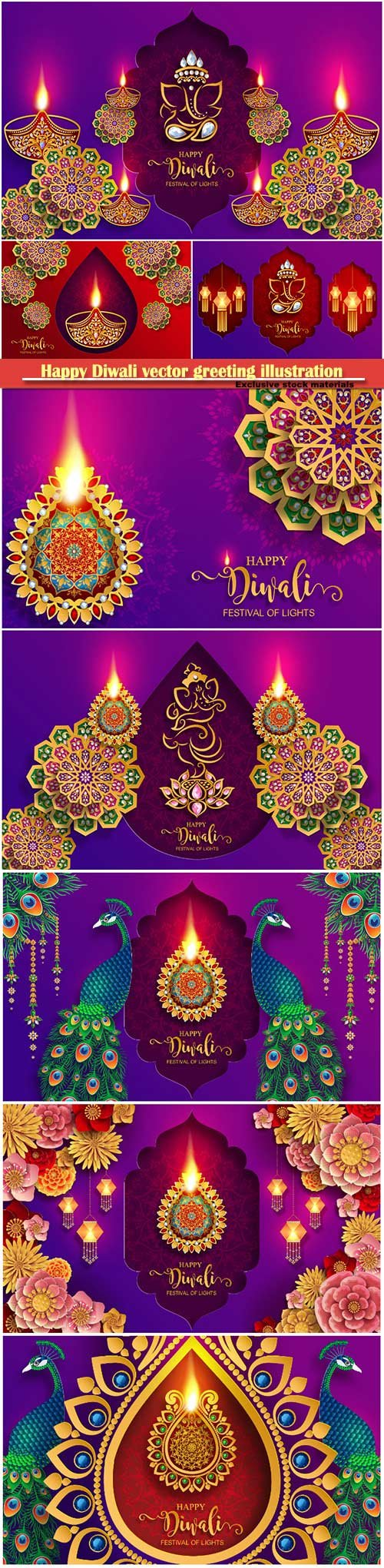 Happy Diwali vector greeting illustration template