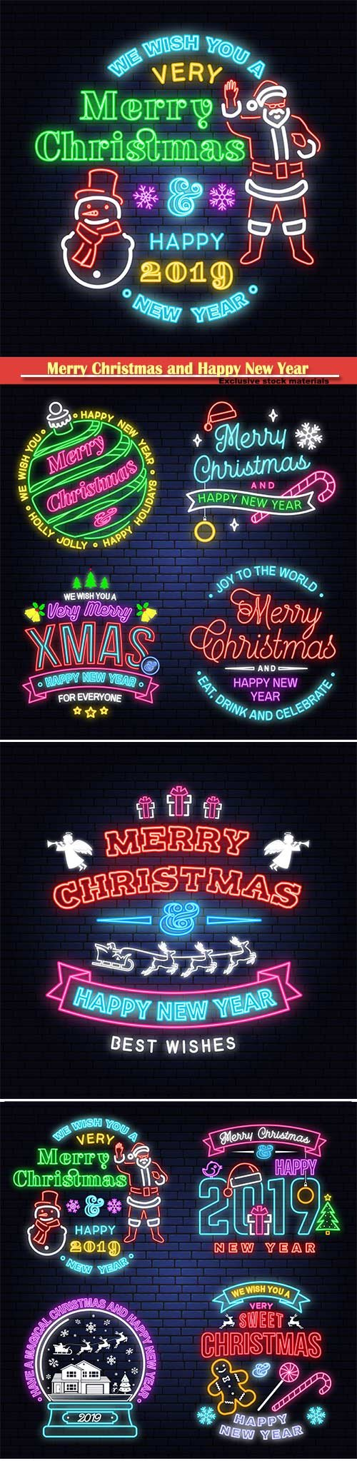 Merry Christmas and Happy New Year neon vector sign
