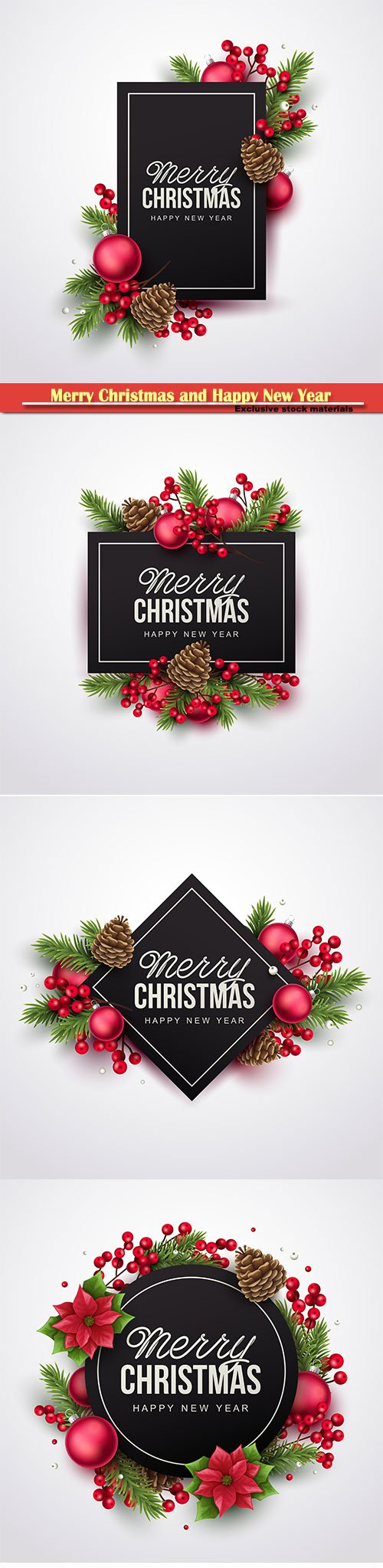 Merry Christmas and Happy New Year greeting vector illustration
