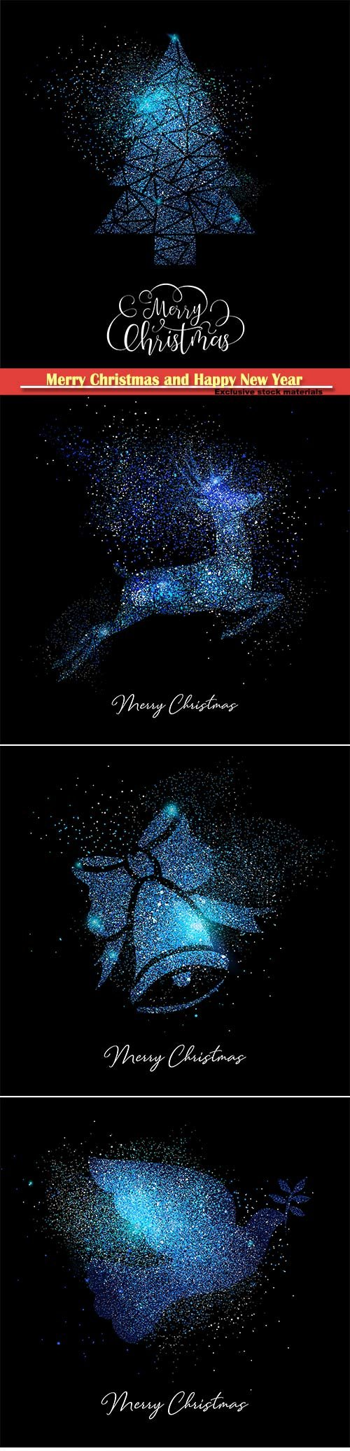 Merry Christmas blue glitter greeting vector card