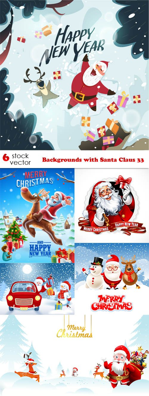 Vectors - Backgrounds with Santa Claus 33
