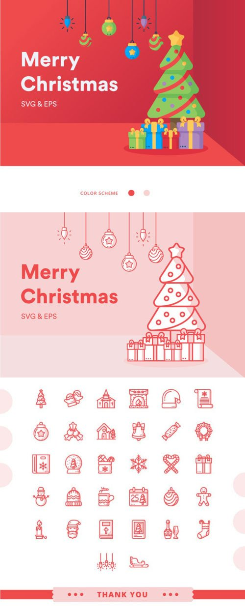 32 Christmas Icon Pack in Vector [EPS/SVG/PNG]