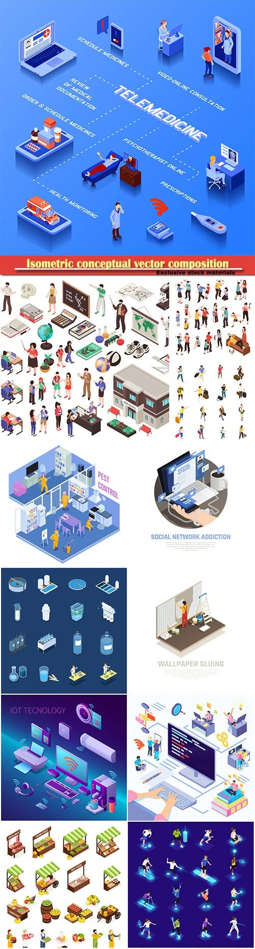 Isometric conceptual vector composition, infographics template # 60