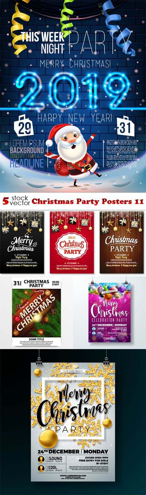 Vectors - Christmas Party Posters 11