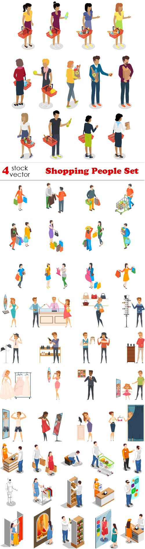 Vectors - Shopping People Set