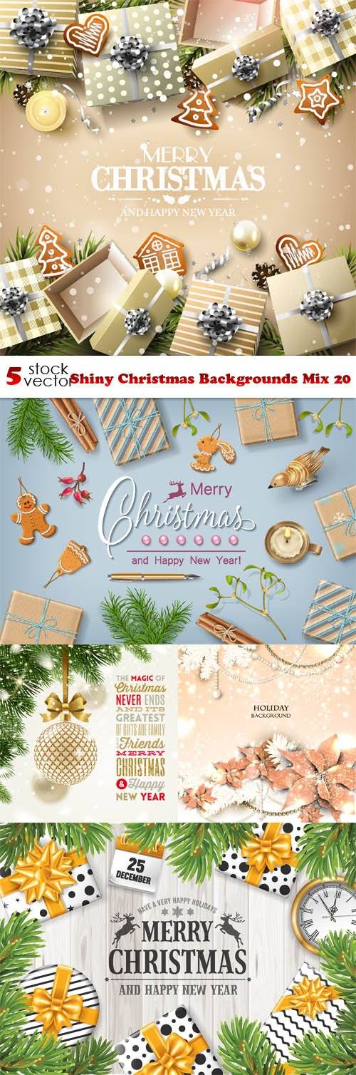Vectors - Shiny Christmas Backgrounds Mix 20
