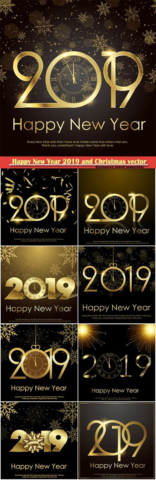 Happy New Year 2019 and Christmas vector background