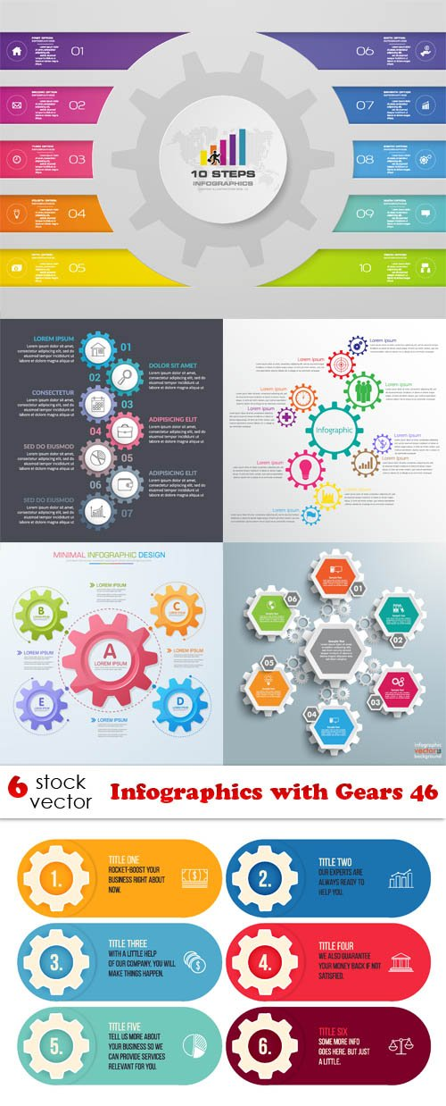 Vectors - Infographics with Gears 46