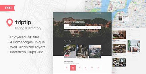 ThemeForest - TripTip v1.0 - Listing & Directory PSD Template - 22976726