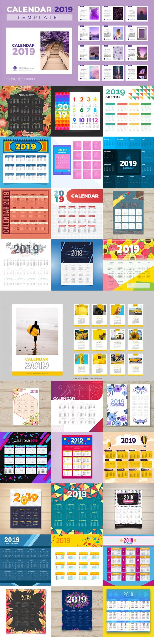 2019 Calendar Vector Templates Collection 1 [30 Calendars]