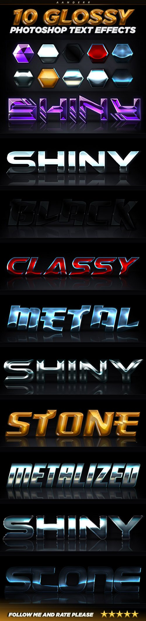 GraphicRiver - 10 Glossy Photoshop Text Effects 22885599