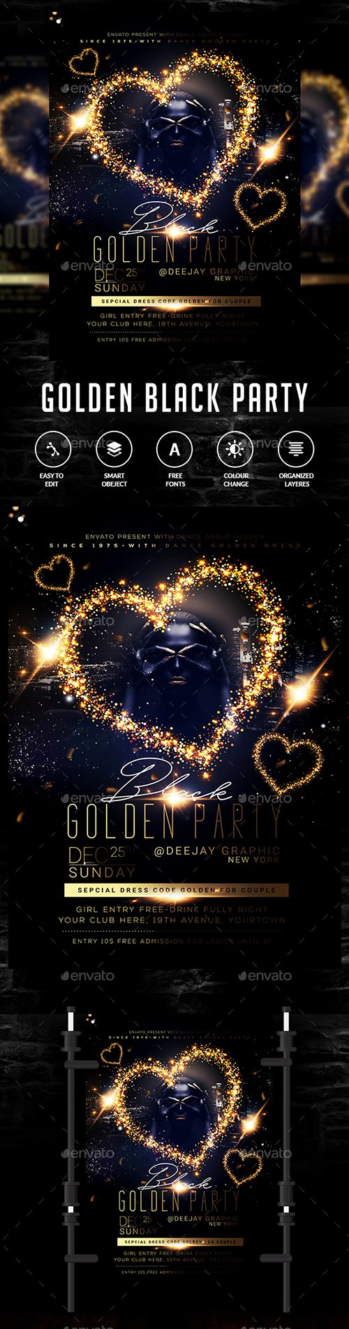 GraphicRiver - Golden Black Party Flyer 22876162