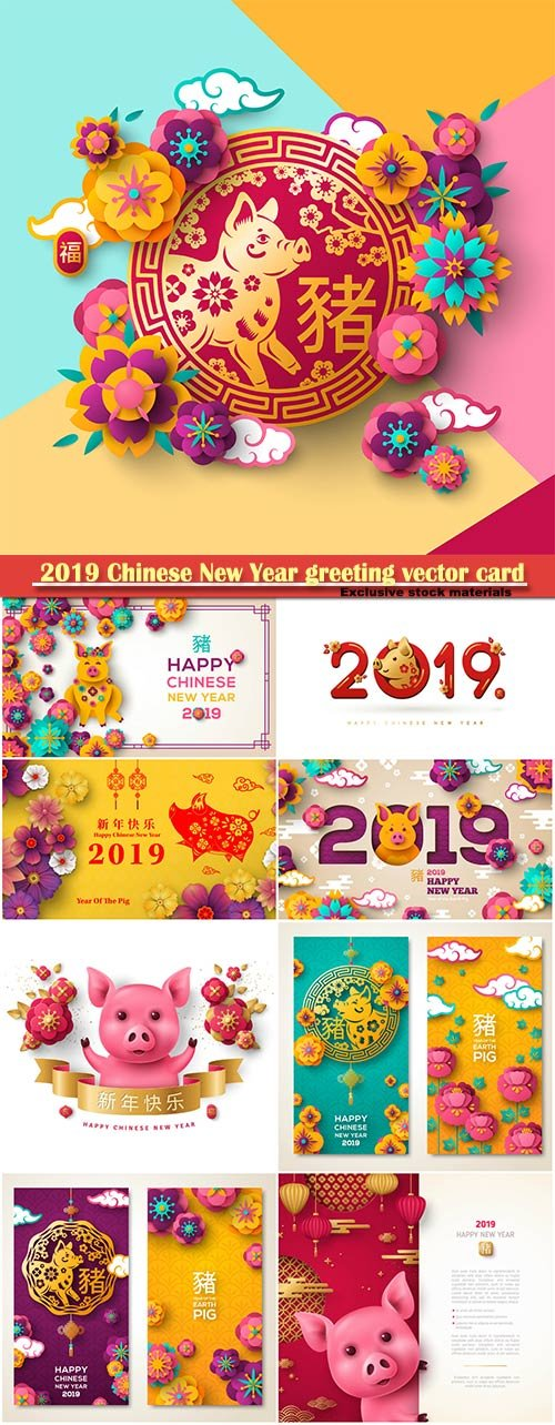 2019 Chinese New Year greeting vector card