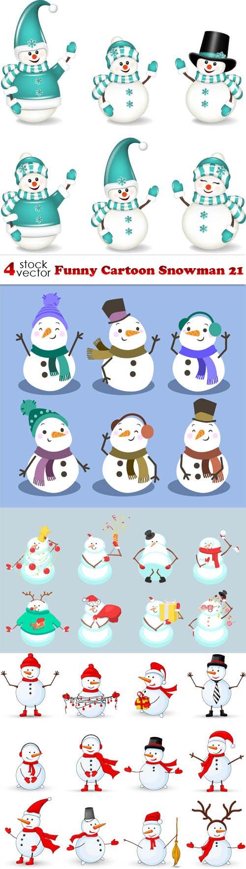 Vectors - Funny Cartoon Snowman 21