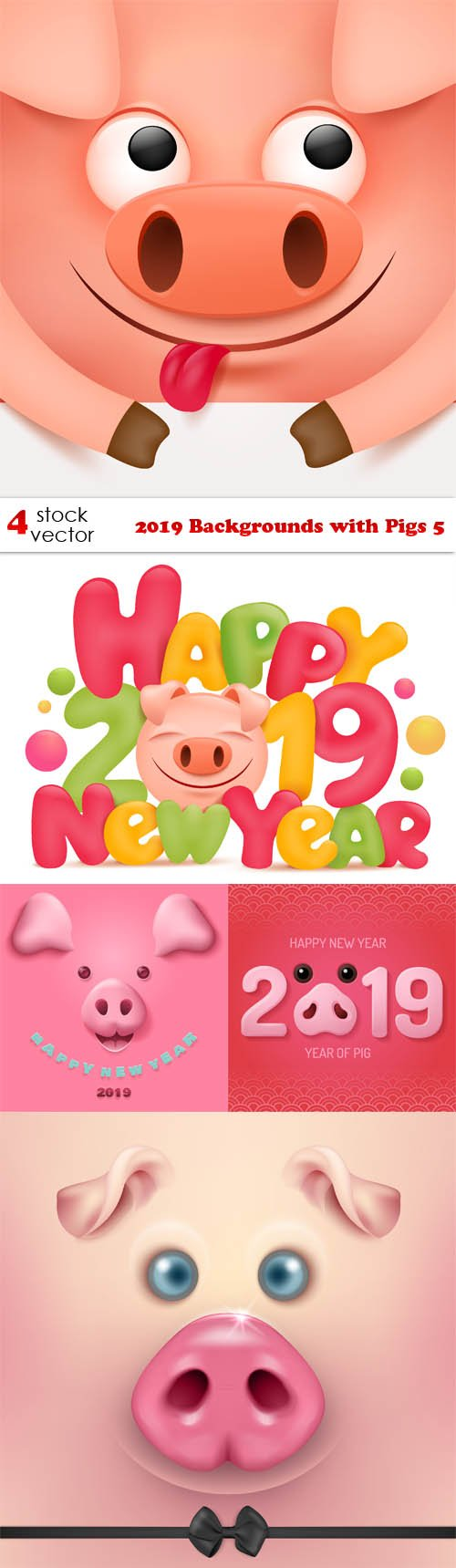 Vectors - 2019 Backgrounds with Pigs 5