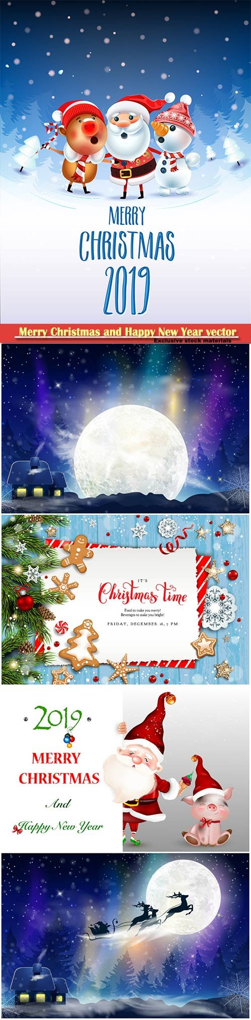 2019 Merry Christmas and Happy New Year vector design # 8