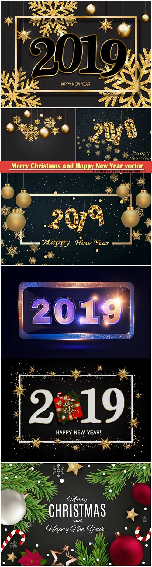 2019 Merry Christmas and Happy New Year vector design # 4