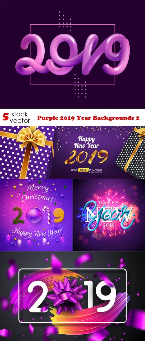 Vectors - Purple 2019 Year Backgrounds 2